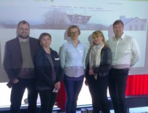 Sentrale personer under seminaret (fra venstre): Gunnar Grini (Norsk Industri), Rannveig R. Landet (Byggenæringens Landsforening), Astrid Holte (Fylkesmannen i Hordaland), Marit Lindstad (NFFA) og Sverre Huse-Fagerlie (MEF).